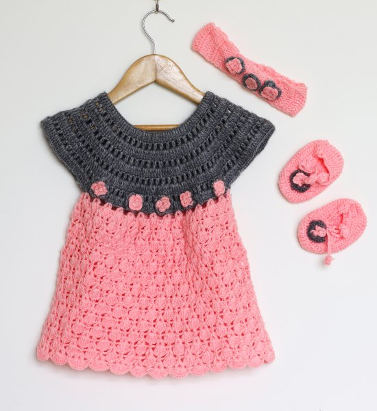 Woonie Handmade Woolen Peach Frock Set for Girls