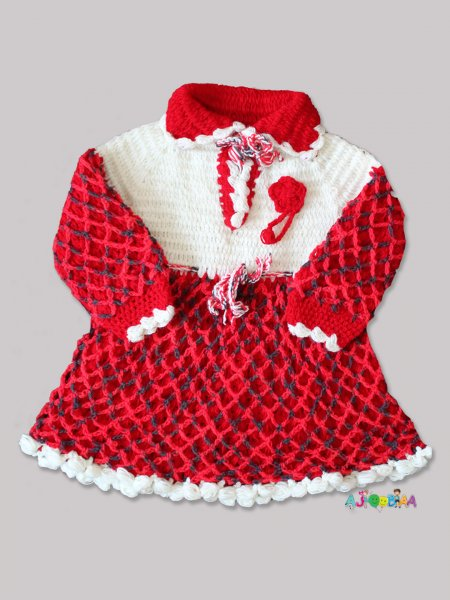 Woonie Handmade Woolen Red and White FullSleeve Frock for Girls