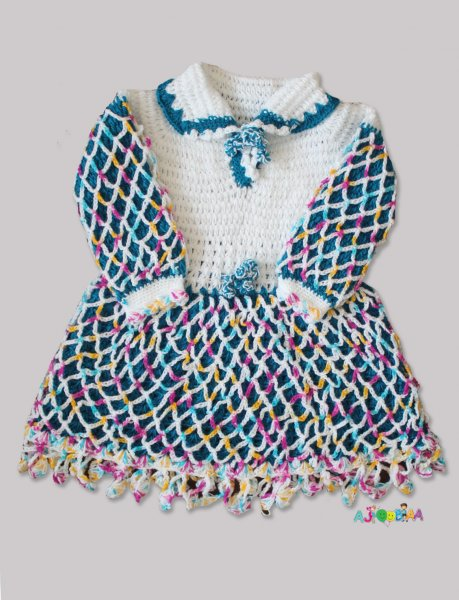 Woonie Handmade Woolen Blue FullSleeve Frock for Girls