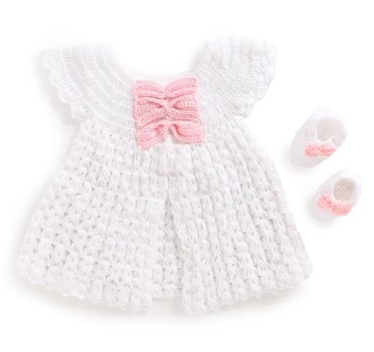 White Front Open Frock with Matching Booties