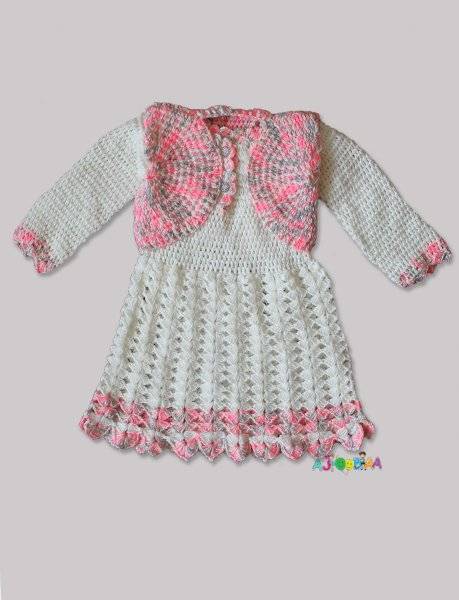 Woonie Handmade Woolen Cream Frock with Shrug for Girls