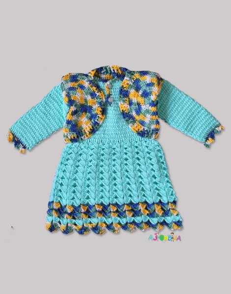 Woonie Handmade Woolen Blue Frock with Shrug for Girls