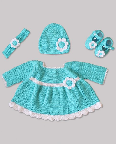 Woonie Handmade Woolen Blue Frock Set for Girls