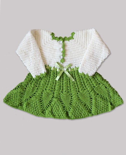 Woonie Handmade Woolen Full Sleeve Cream and Green Frock