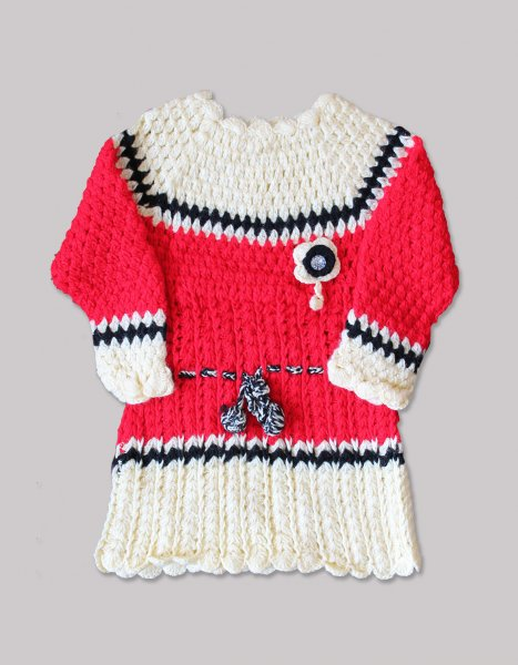 Woonie Handmade Woolen Full Sleeve Cream and Red Frock