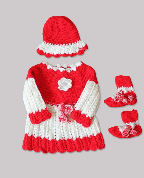 Woonie Handmade Woolen Red Frock Set for Girls