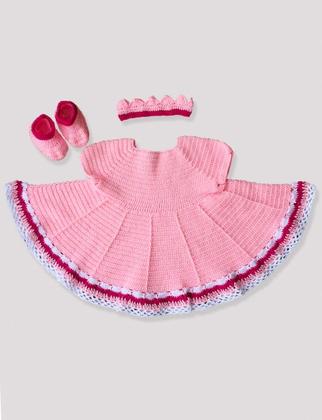 Woonie Handmade Woolen Peach Frock set with Headband and Booties
