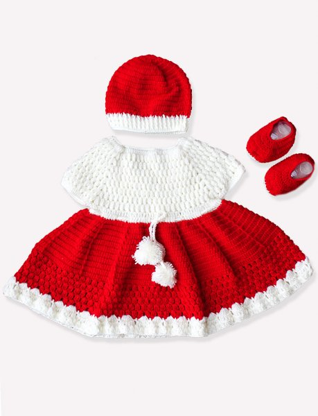 Woonie Handmade Woolen Red Frock Set with Cap and Booties