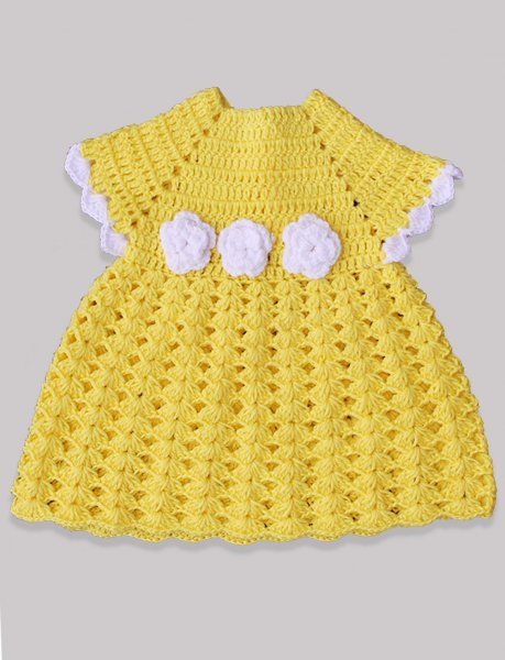 Woonie Handmade WoolenYellow Frock with Floral Applique