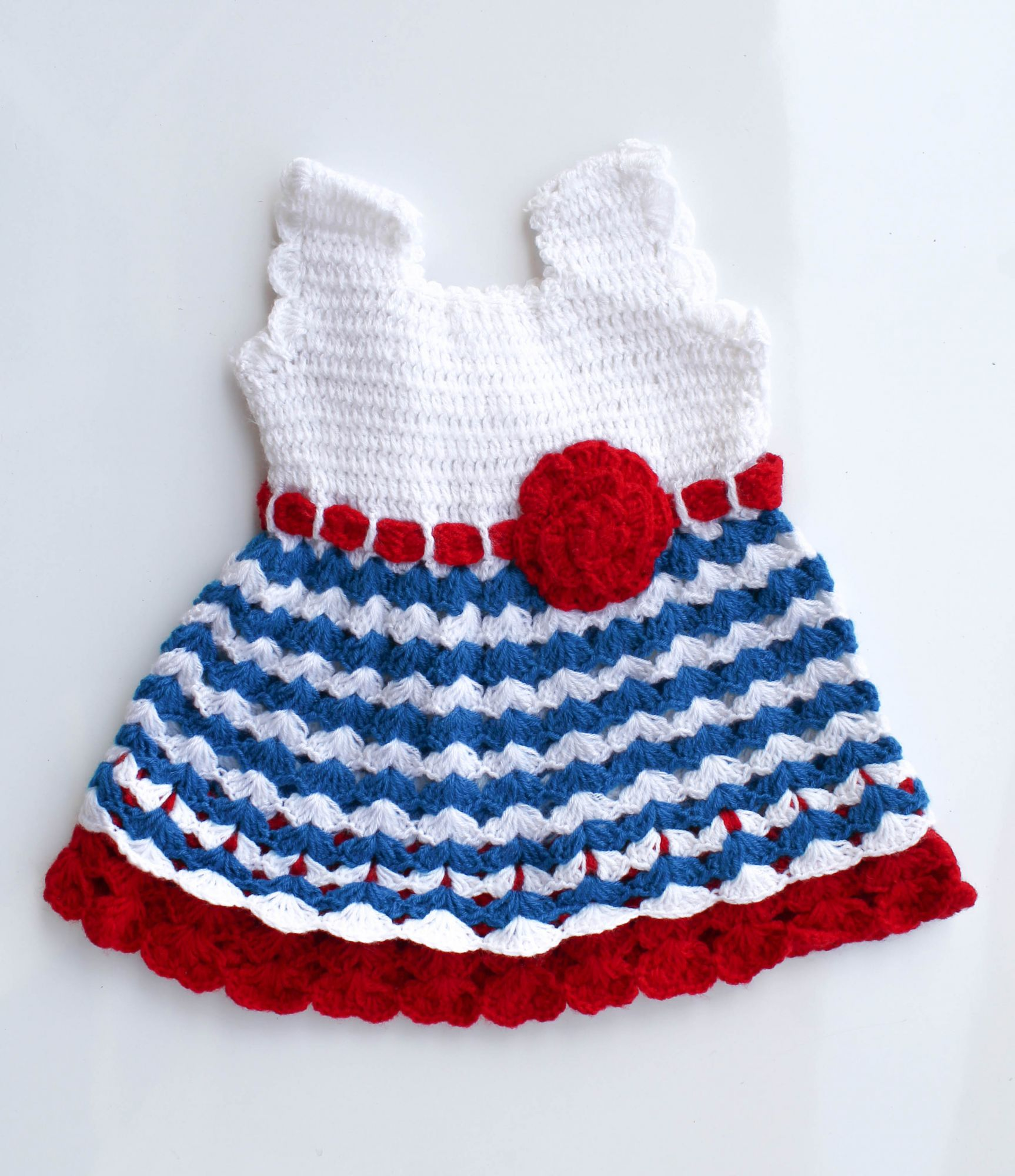 Woonie Handmade Woolen White and Blue Frock