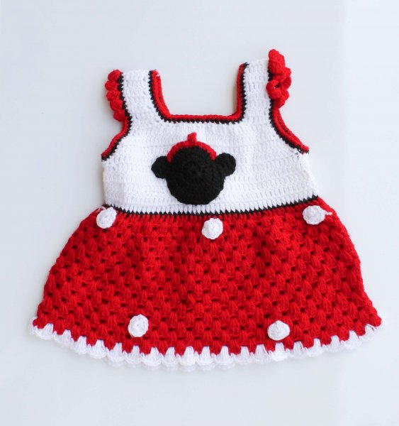 Woonie Handmade Woolen White and Red Frock