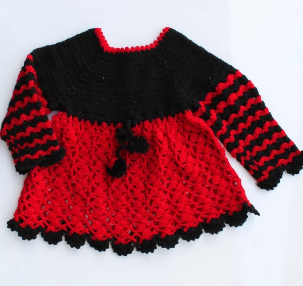 Woonie Handmade Woolen Red and Black Frock