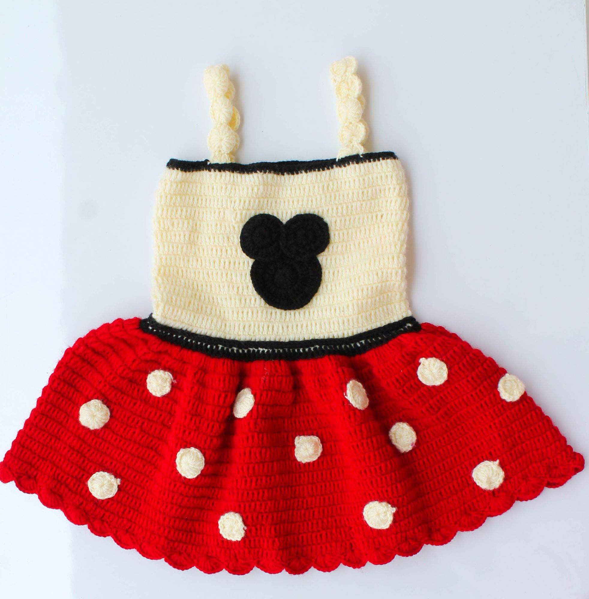 Woonie Handmade Woolen Strap Red and Cream Frock