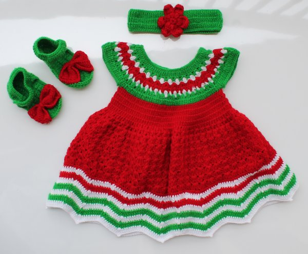 Woonie Handmade Woolen Red and Green Watermelon Frock Set
