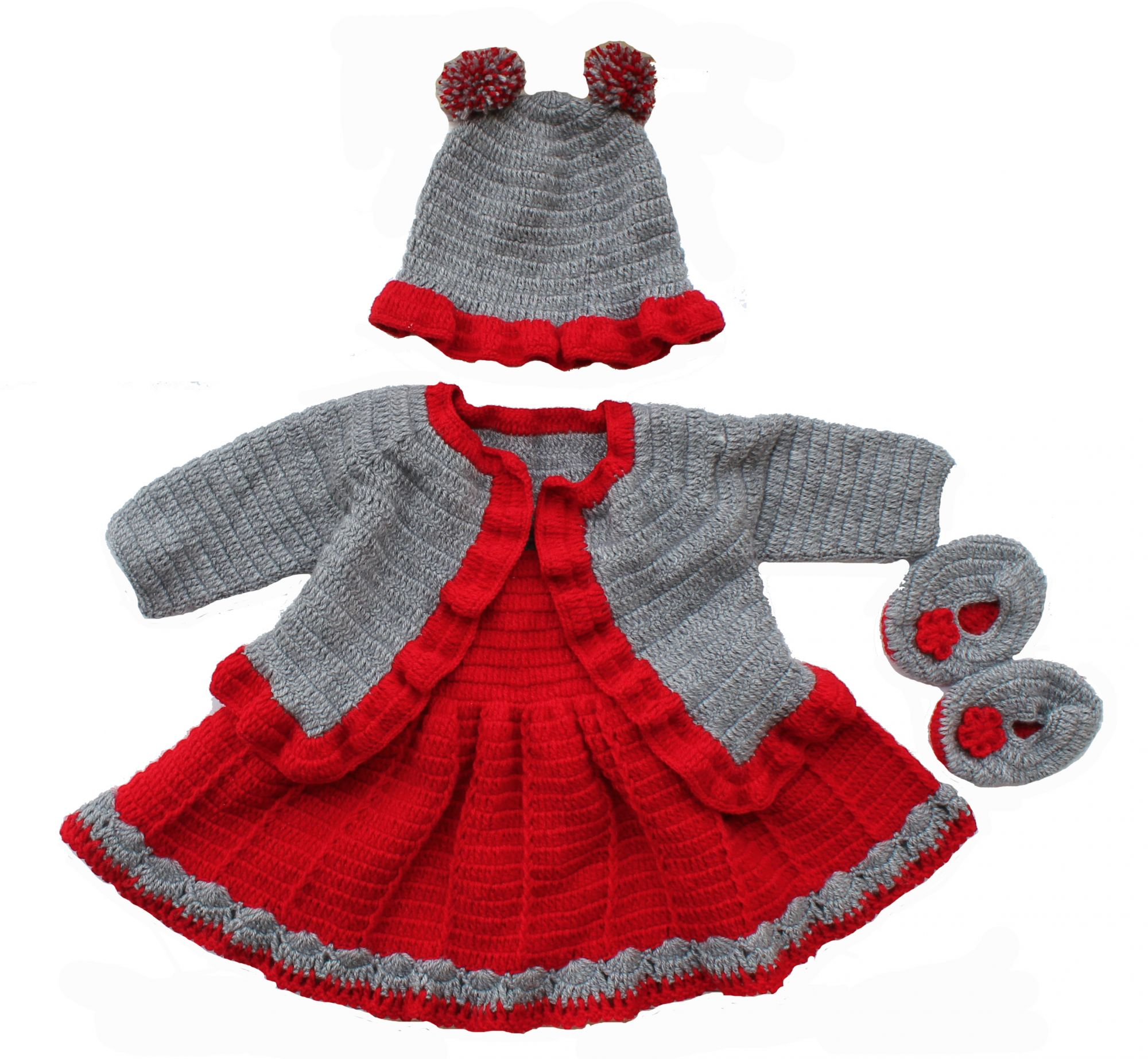 Woonie Handmade Woolen Grey and Red Frock with Shrug Set with Matching Cap and Booties