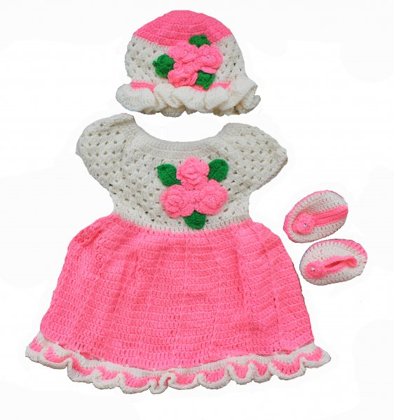 Woonie Handmade Woolen White and Pink Frock Set