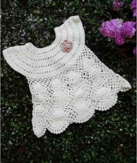 Woonie Handmade Cream Frock for Girls