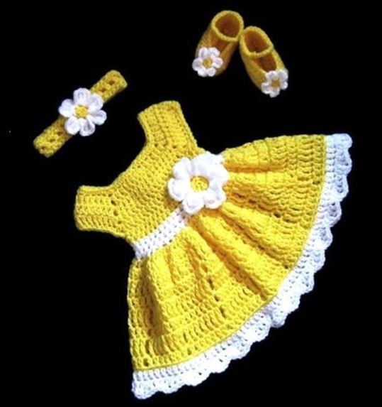 Woonie Handmade Yellow Frock with Headband with Headband and Booties
