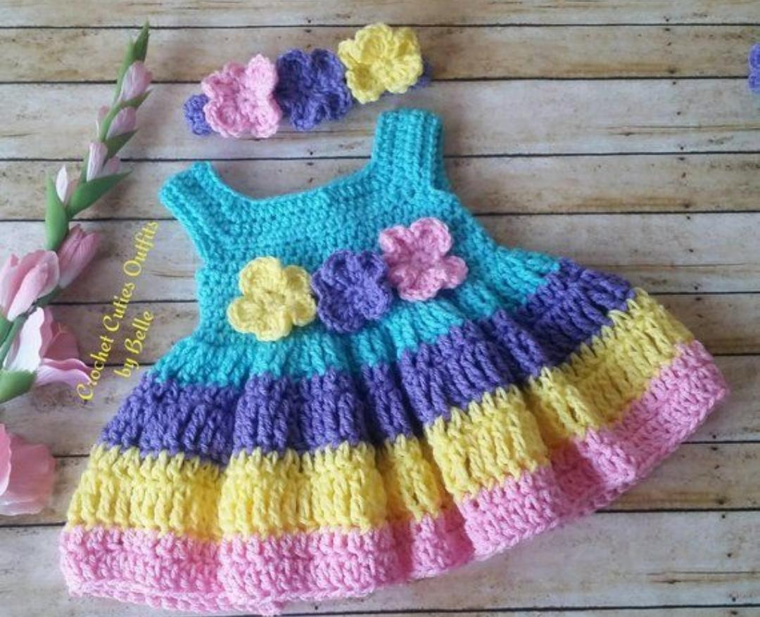 Blue Frock with Multicolored Frills