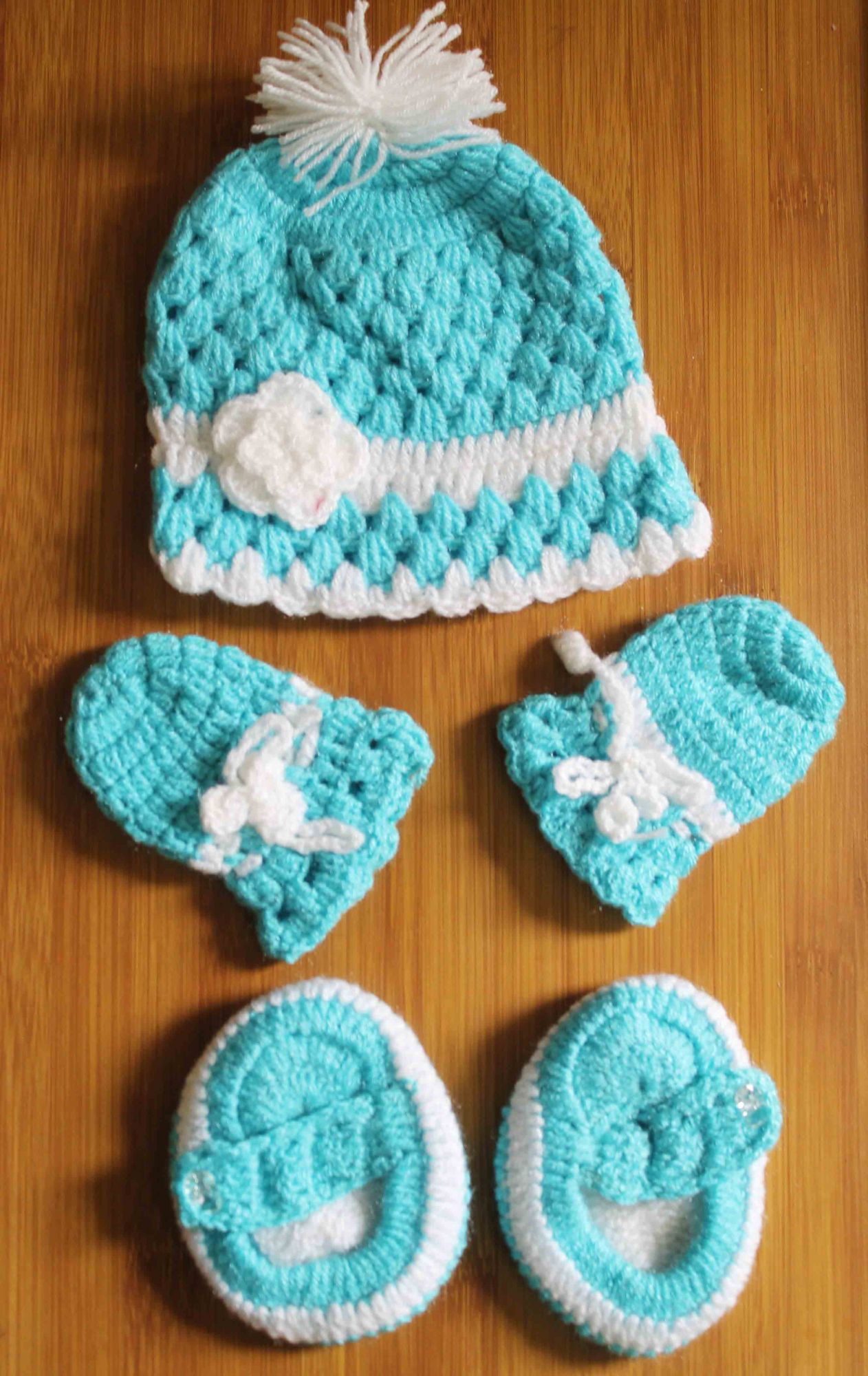 Blue and White Woolen Cap with Matching Mittens and Booties