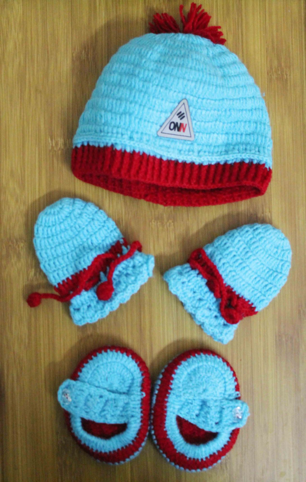 Blue and Red Woolen Cap with Matching Mittens and Booties