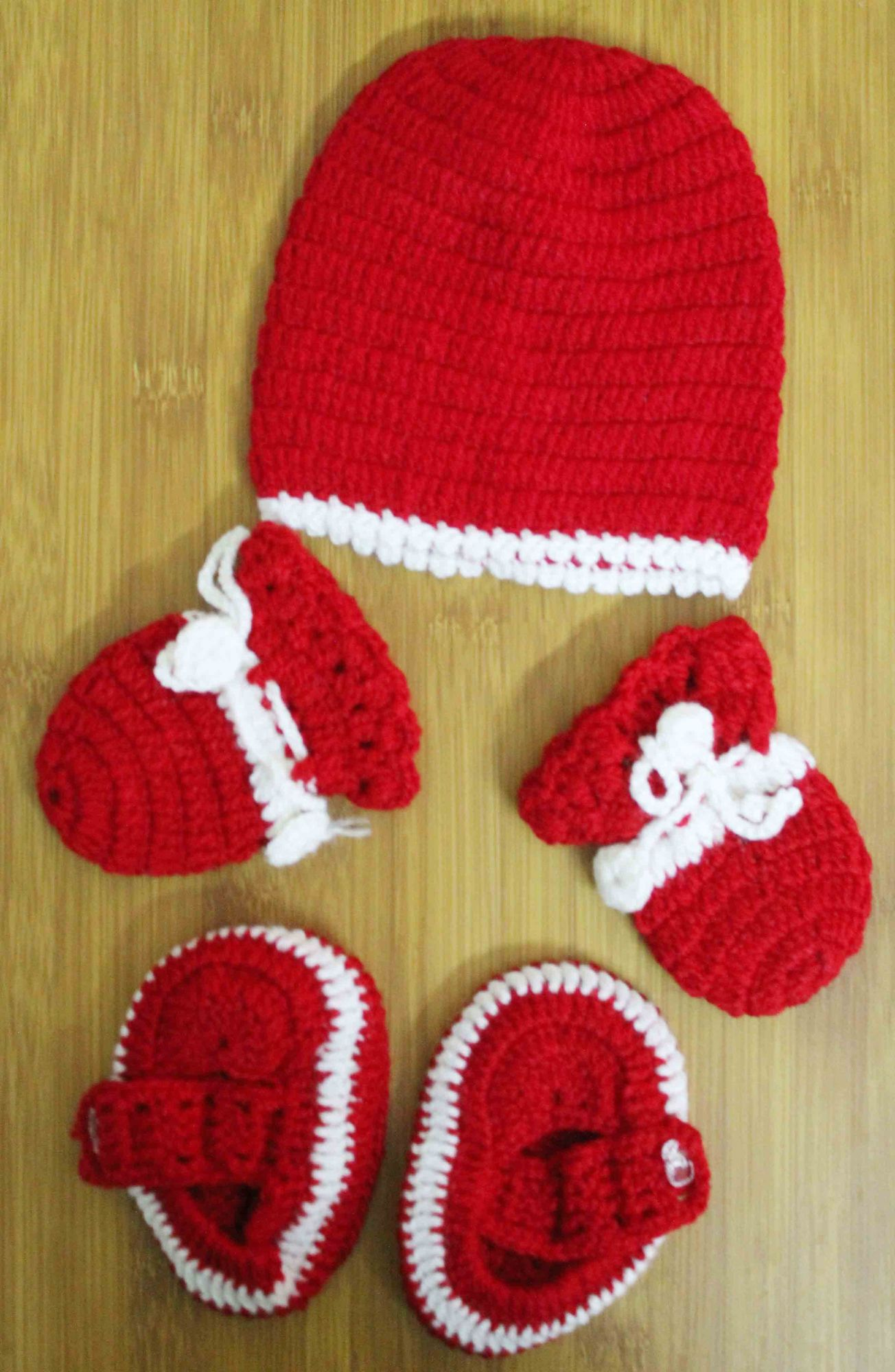 Red and White Woolen Cap with Matching Mittens and Booties