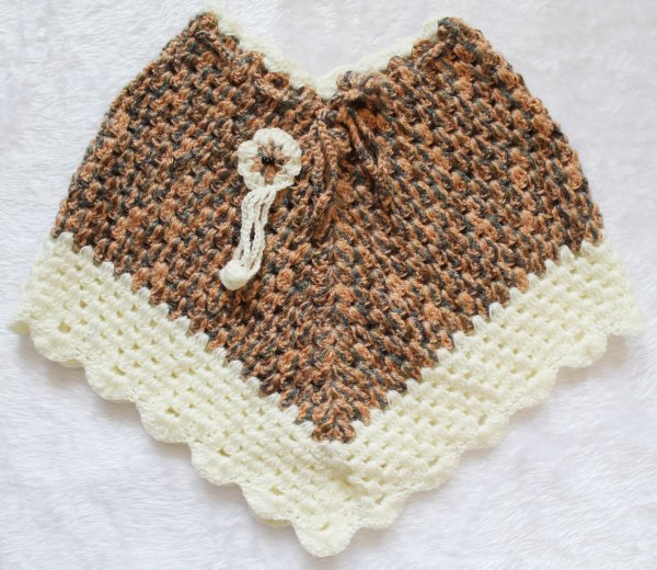 Woonie Handmade Brown and Cream Poncho for Kids