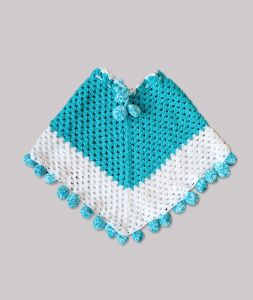 Woonie Handmade Blue Pom-Pom Poncho for Kids