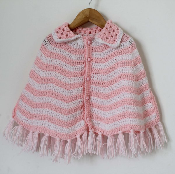 Woonie Handmade Pink and White Cape with Collar Detail for Infants