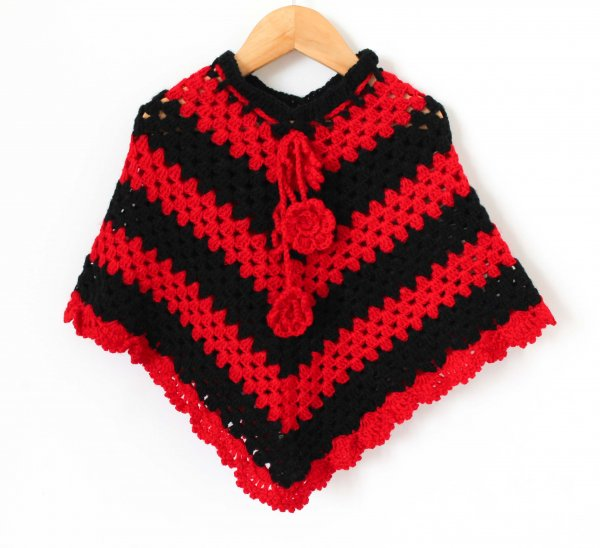Woonie Handmade Black and Red Poncho for Infants