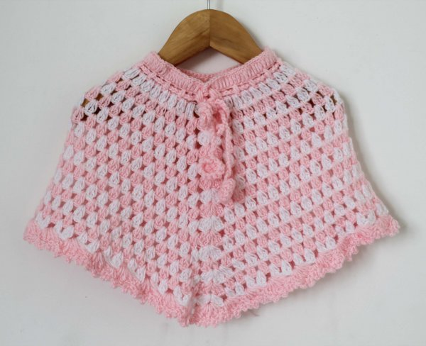 Woonie Handmade Baby Pink and White Poncho for Infants