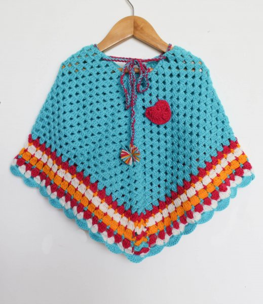 Woonie Handmade Blue Floral Poncho for Kids