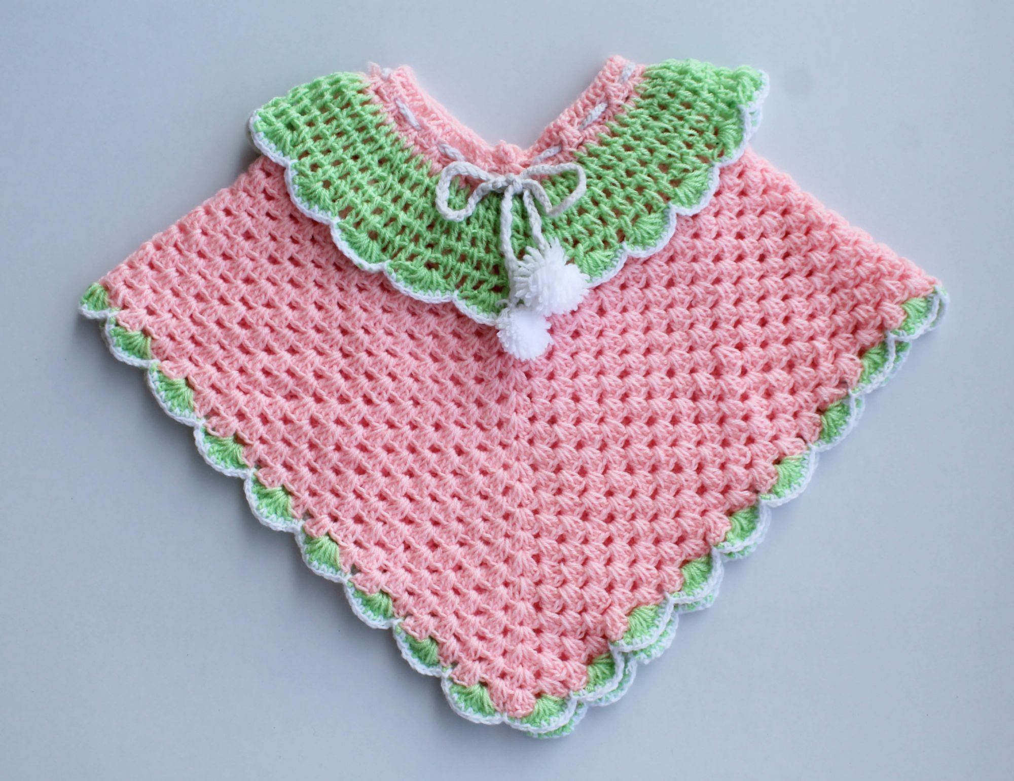 Woonie Handmade Pink and Green Poncho for Kids