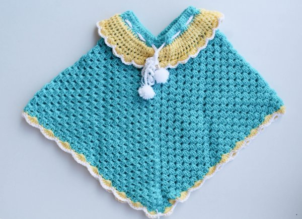Woonie Handmade Blue and Yellow Poncho for Kids