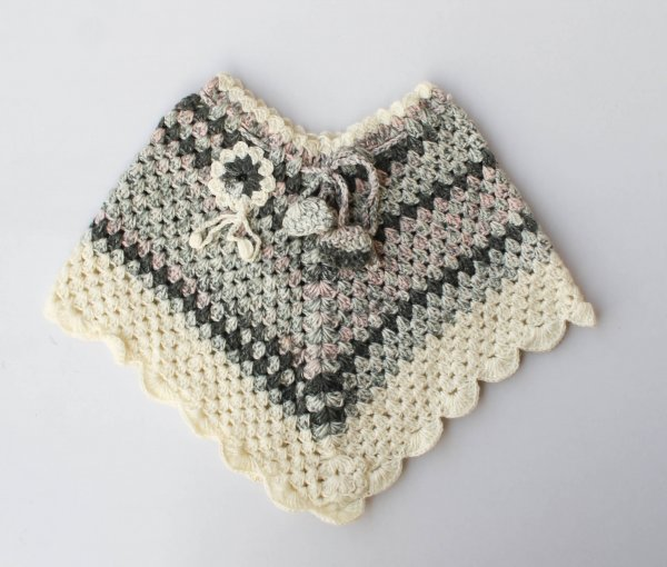 Woonie Handmade Grey Poncho for Kids