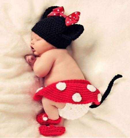 Woonie (Set of 2) Baby Designer Crochet Beautiful Costume/Mini Mouse Pattern Photography Props