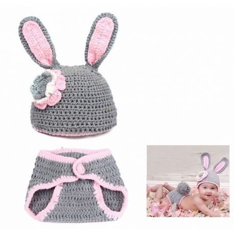 Woonie (Set of 2) Baby Designer Crochet Beautiful Costume/ Rabbit Pattern Photography Props