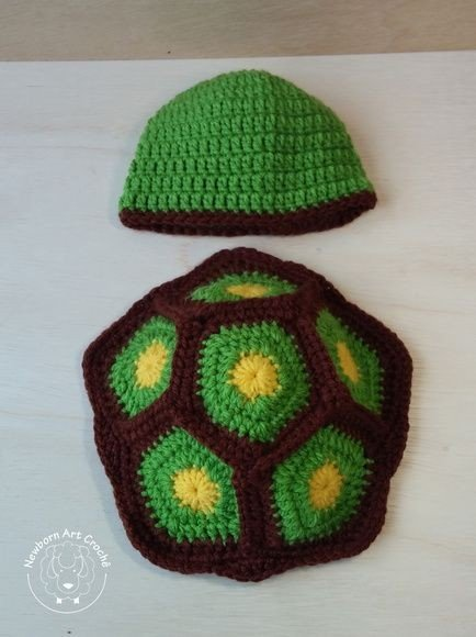 Woonie (Set of 2) Baby Designer Crochet Beautiful Costume/ Turtle Pattern Photography Props
