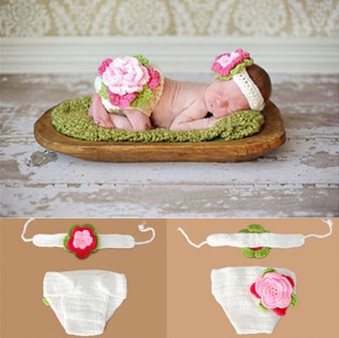 Woonie (Set of 2) Baby Designer Crochet Beautiful Costume/Floral Photography Props