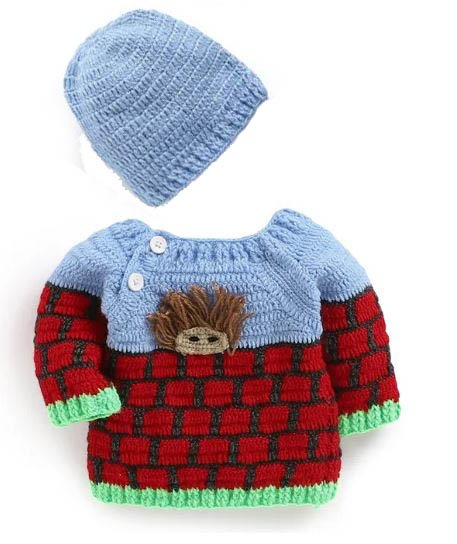 Woonie Handmade Multicolored Sweater with Cap for Kids