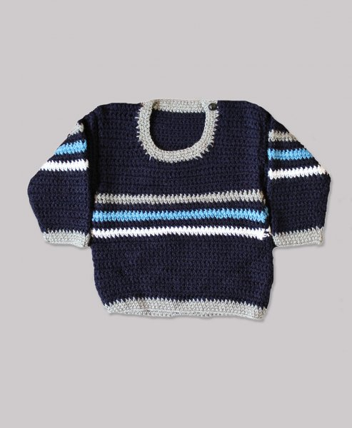 Woonie Handmade Grey Striped Sweater for Kids