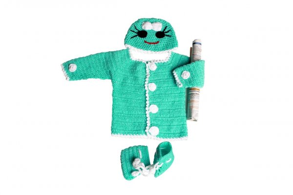Woonie Handmade Green Sweater Set