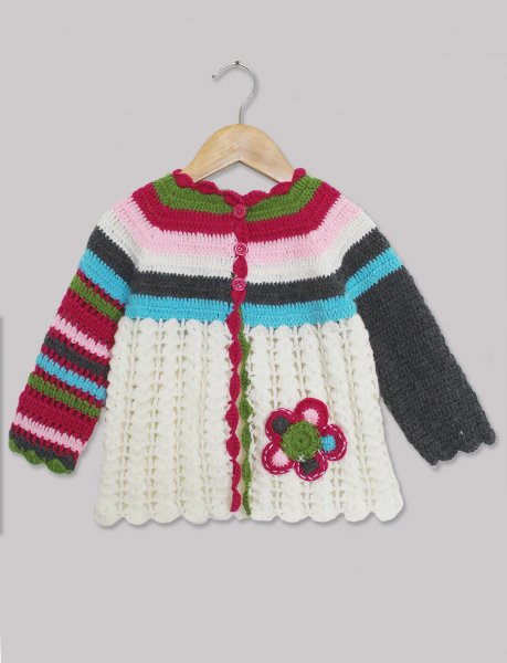 Woonie Handmade Multicolored Sleeve  Sweater for Kids