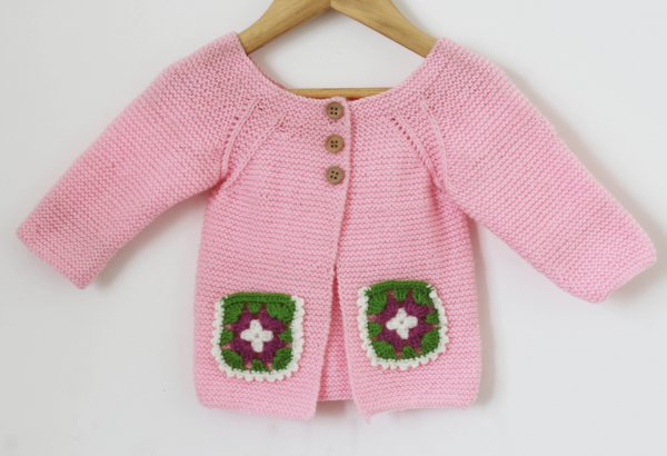 Woonie Handmade Pink Knitted Sweater with Pocket