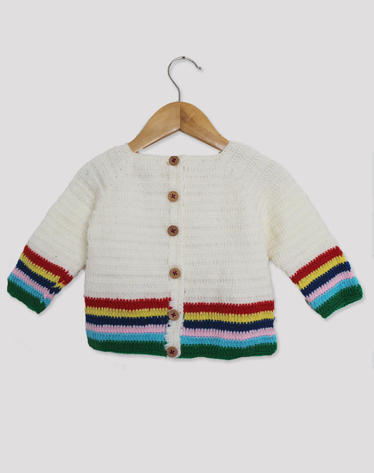 Woonie Handmade Multicolored Striped Sweater for Kids