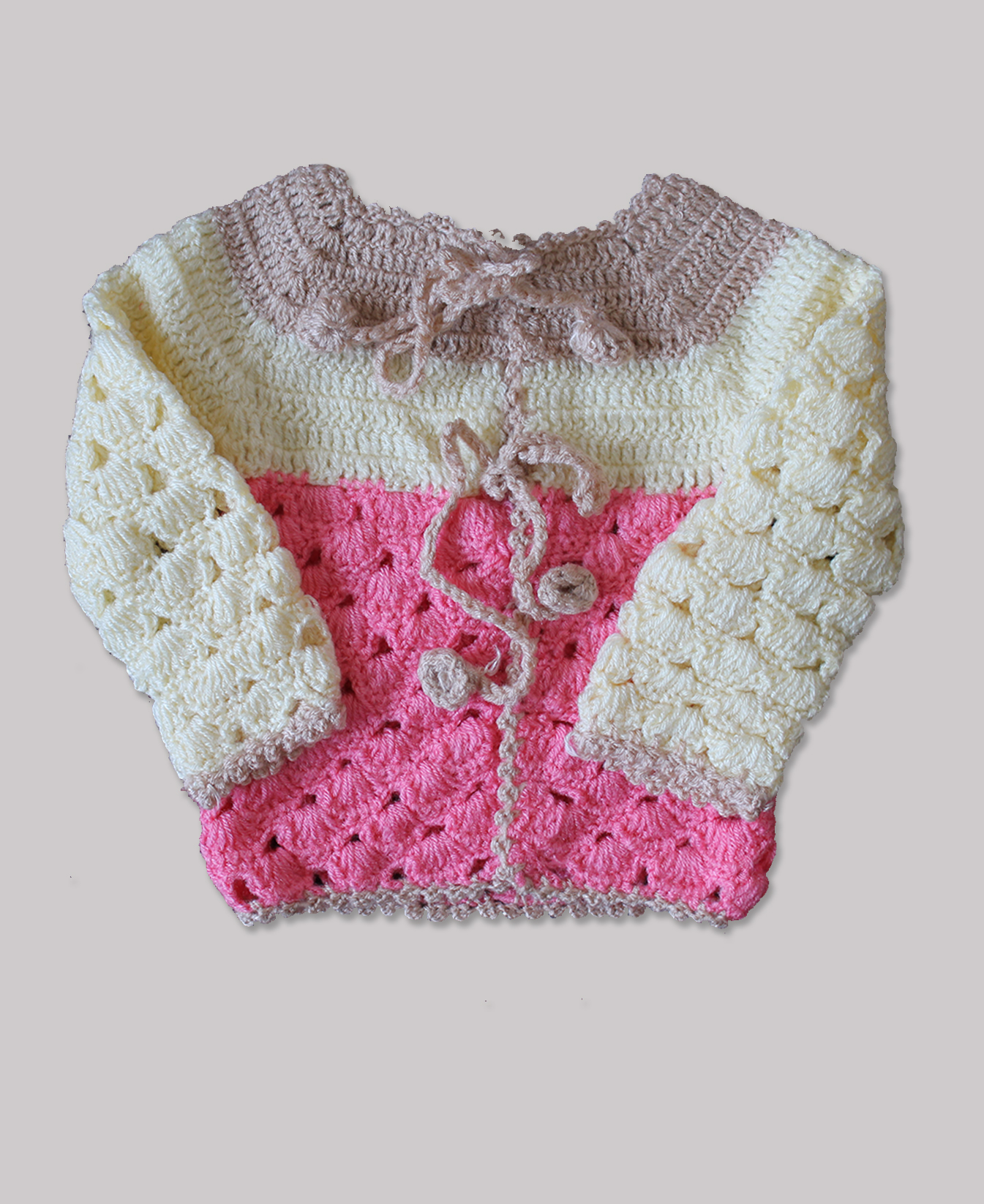 Woonie Handmade Pink and Cream Sweater for Kids