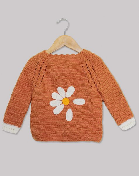 Woonie Handmade Orange Sweater with Leaf Applique for Kids