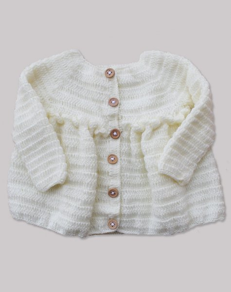 Woonie Handmade Cream Coat for Girls