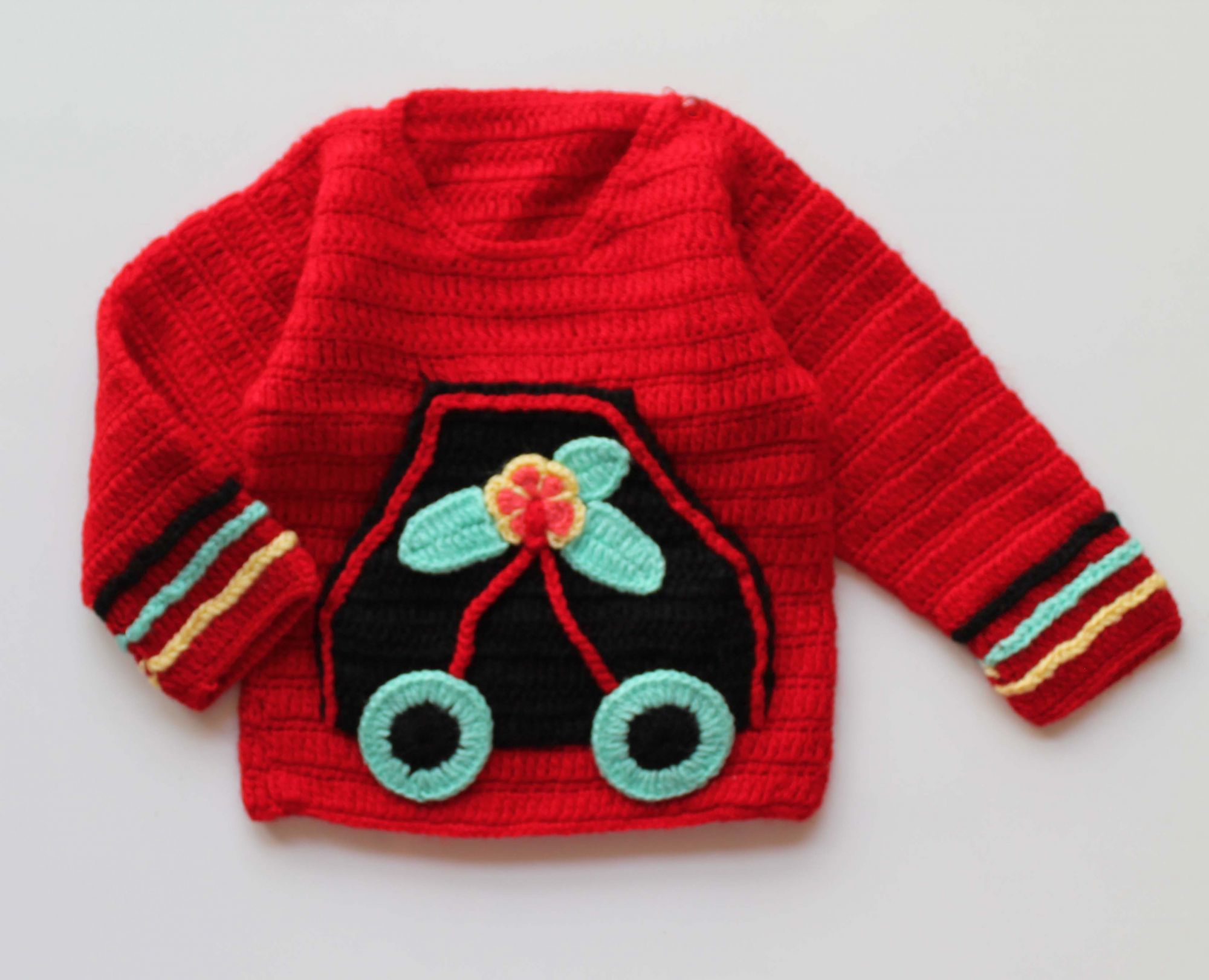 Woonie Handmade Red Cute Sweater for Kids