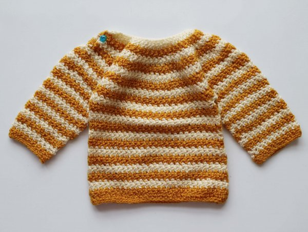 Woonie Handmade Brown Striped Sweater for Kids